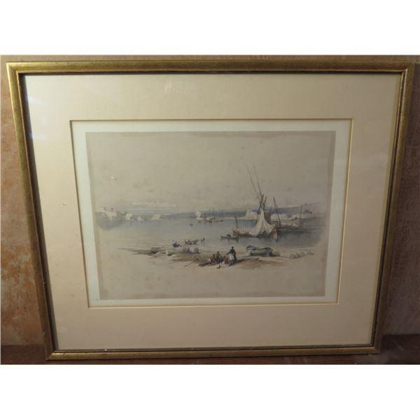 """Framed Art, Landscape Print """"Port Of Tyre"""" Signed David Roberts April 27 1839 21"""" x 17.5"""""""