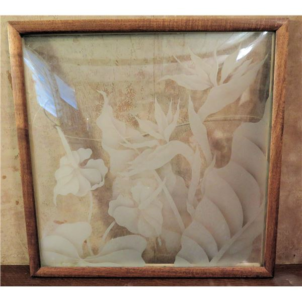 """Framed Art, Bird of Paradise Etched Clear Glass 16.5"""" X 16.5"""""""