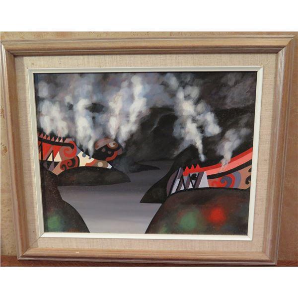 """Framed Art, Native American Art Print, Black/Red/Gray/White 17.5"""" x 14.75"""""""