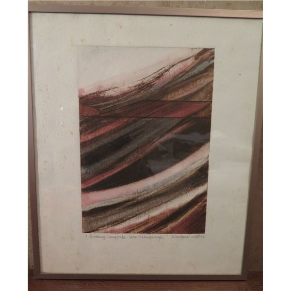 "Framed Art, ""Burning Landscape Lake Mahinerangi"" Signed Marilynn Webb 1983 15"" x 17.75"""