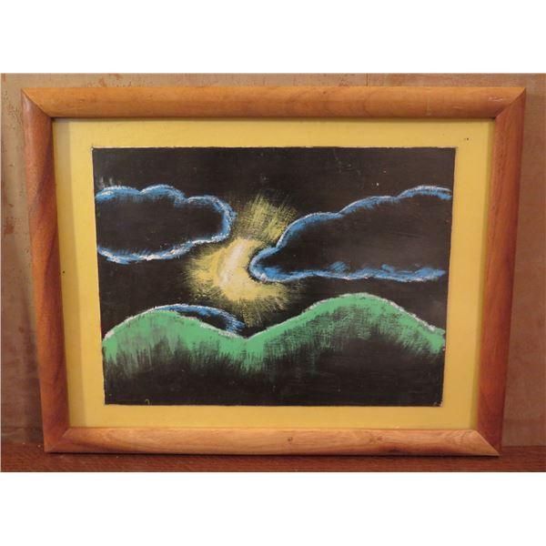 "Framed Art, Landscape w/ Sun Black/Blue/Green/Yellow 18"" x 14"""