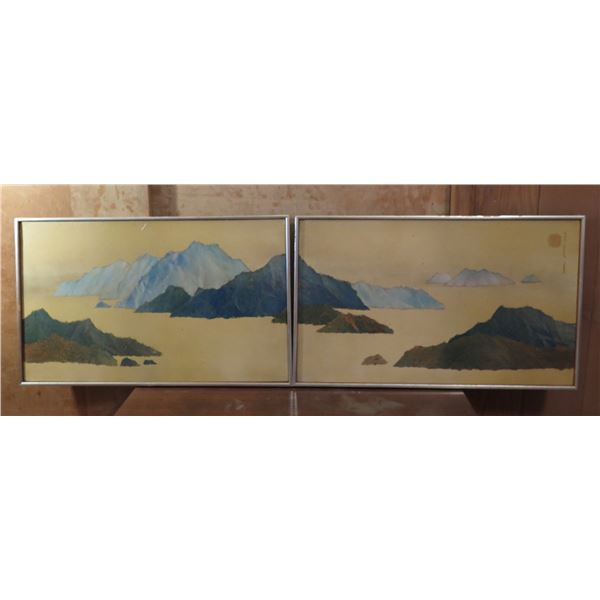 """Qty 2 Framed Art, Panoramic Mountains in the Sea Painting, Canvas, Signed (Some Stains) 62"""" x 19"""""""