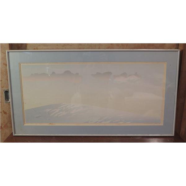 "Framed Art, Australian Landscape Print Signed Malcom Warr 1980  33.5"" x 18""  (Damaged Frame)"