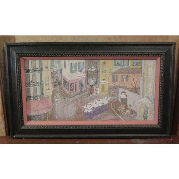 "Framed Art, Streets of France Print  Pastels 31"" x 18.5"""