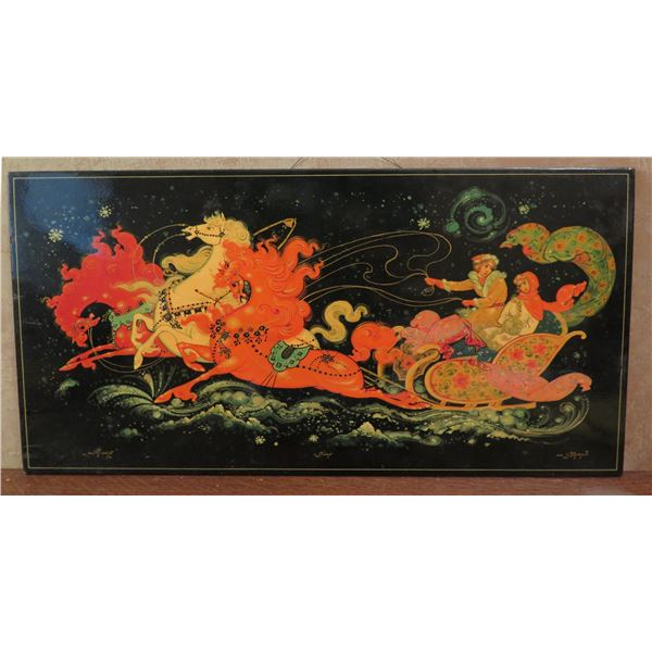 """Framed Art, Russian Black Lacquer Print , Woman & Man In Sleigh Signed 19.75"""" x 10"""""""