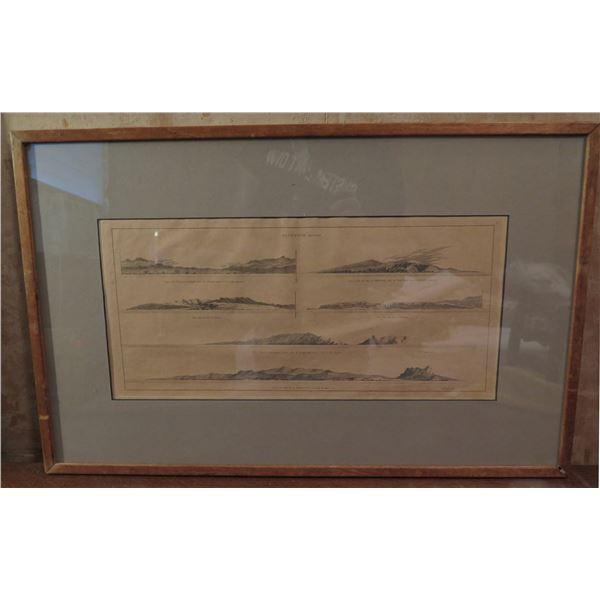 "Framed Art, Sandwich Island Print, Pencil Drawing 24"" x 15.5"""