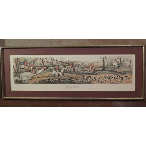 """Framed Art, """"Full Cry"""" Print, Aqua Tint Etched by H Alken Published 1824 28.5"""" x 11"""""""
