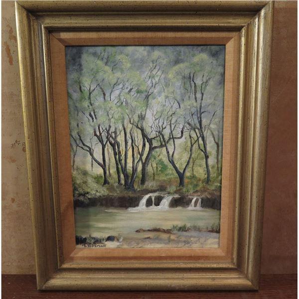 "Framed Art,""Liliokalani Gardens""  Painting, Signed M Dorman 13"" x 16"""