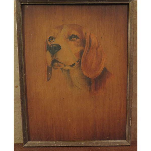 "Framed Art, Hound Dog on Wood Painting 12"" x 16"""