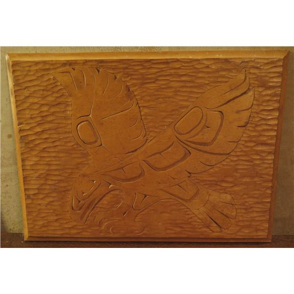 """Native American Indian Art, Wooden Carved Bird Plaque, Signed Joe B. Andrews 16"""" x 11.5"""""""