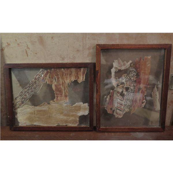 Qty 2 Framed Art, Kapa Encased in Glass