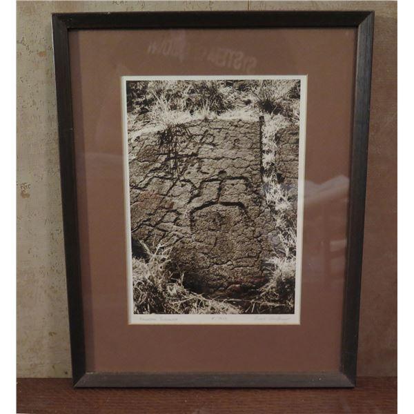"Framed Art, Photo ""Hawaiian Petroglyph"" Limited Edition Signed Buzz Belknap 11.75"" x 14.75"""