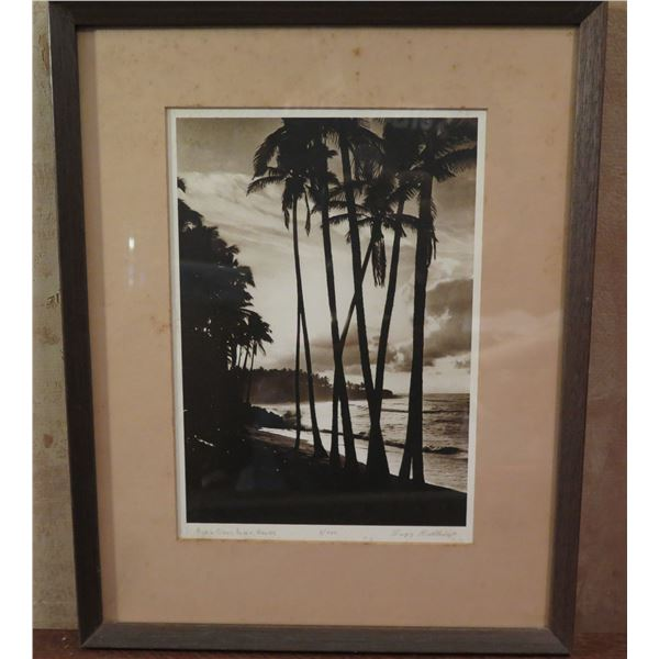 "Framed Art, Photo ""Black Sand Beach, Hawaii"" Limited Edition Signed Buzz Belknap 11.75"" x 14.75"""