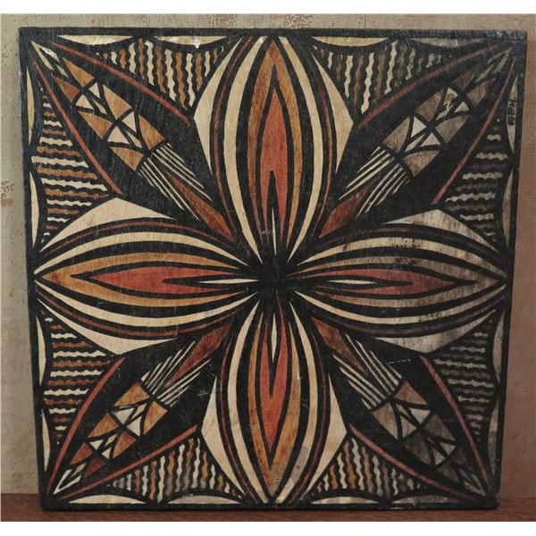 "Samoan Tapa Art, Geometric Black/Brown/Red/Beige 12' x 12"""