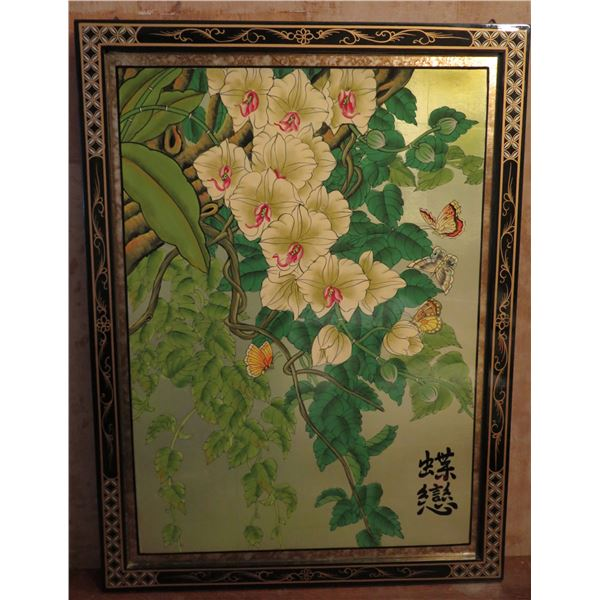 """Framed Art, Orchid & Butterflies w/Black Ornate Frame Chinese Characters 24"""" x 32"""""""