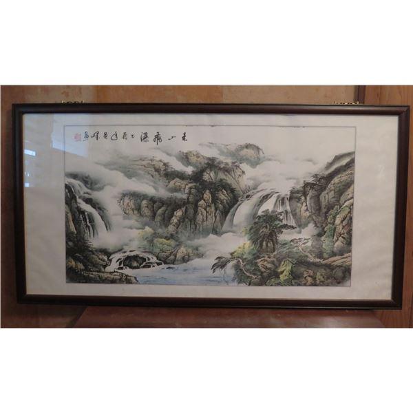 """Framed Art, Chinese Landscape Print, Maker's Mark 49"""" x 25.75"""""""
