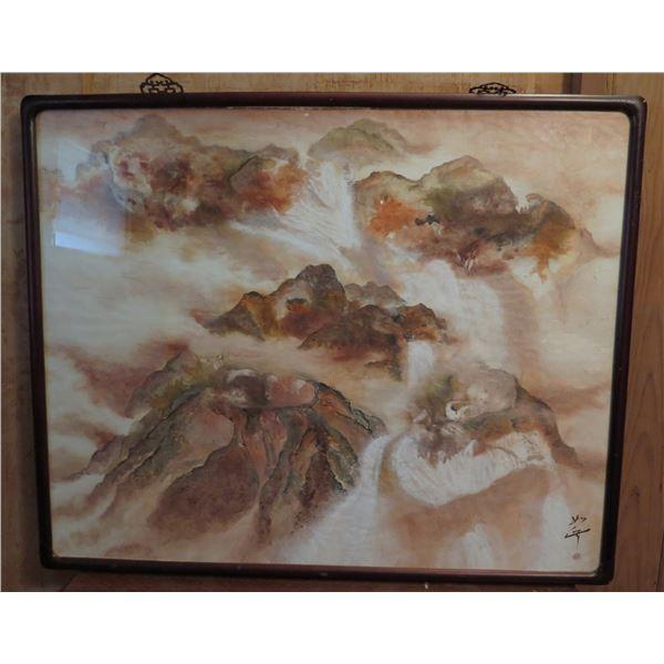 """Framed Art, Chinese Landscape Painting, Maker's Mark 42"""" x 34"""""""