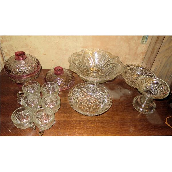 Qty 12 Cut Glass Serving Dishes, 6 Cups. 3 Bowls, Covered Bowl, Lid, Candy Dish