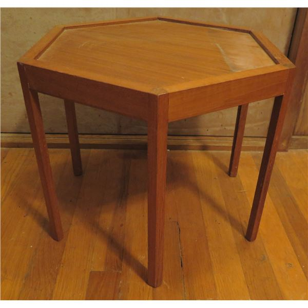 "Hexagonal Wooden Table, 6 Legs 17"" Dia, 14"" H"