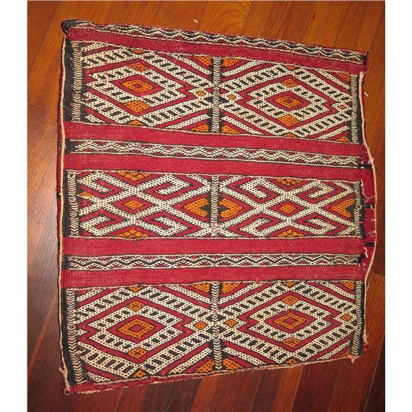 "3 Panel Tapestry Pillowcase, Geometric Red/Orange/White/Black 17"" Square"