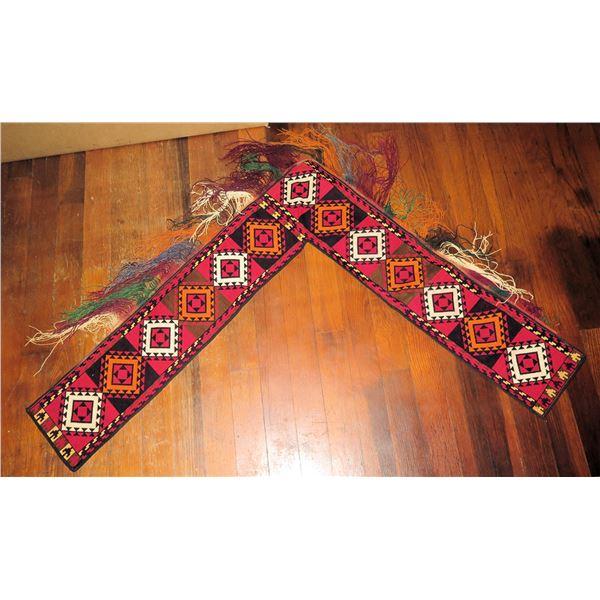"Tapestry, Geometric w/Fringe  Red/White/Black/Orange 30"" x 27"" L  Shape"