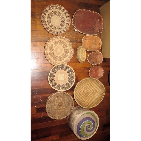 Qty 11 Woven Baskets,  4 Wood w/Twine, Covered Basket, 5 Woven Serving Plates, Wooden Steamer Spiral