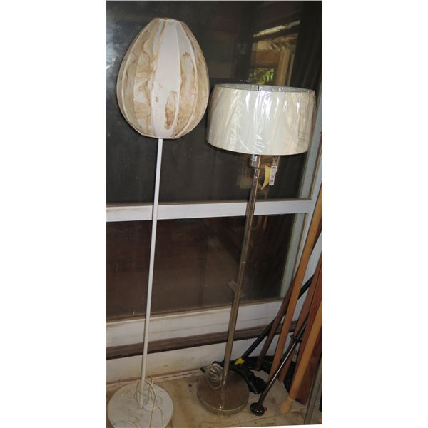 Qty 2 Standing Lamps w/ Lampshades, (Water Damage)