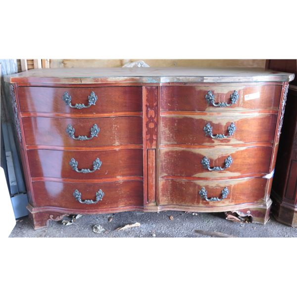 """Wooden Dresser 8 Drawers, Raised Ornaments 59"""" x 22"""" x 35"""" (Missing Decorations Numerous Stains)"""