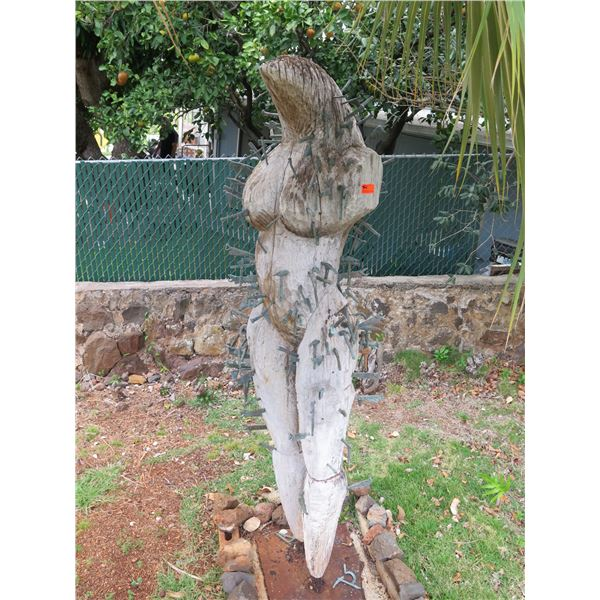 """Wooden Carved Figurine w/ Metal Tool Ornaments 80"""" Tall"""