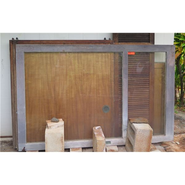 Qty 3 Sliding Doors, 2 Wooden, 1 Glass Various Sizes