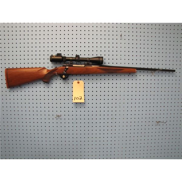 Ruger M77, bolt action, 22-250, floor plate, Weatherby Nash  3-9 x 40 lited reticle scope