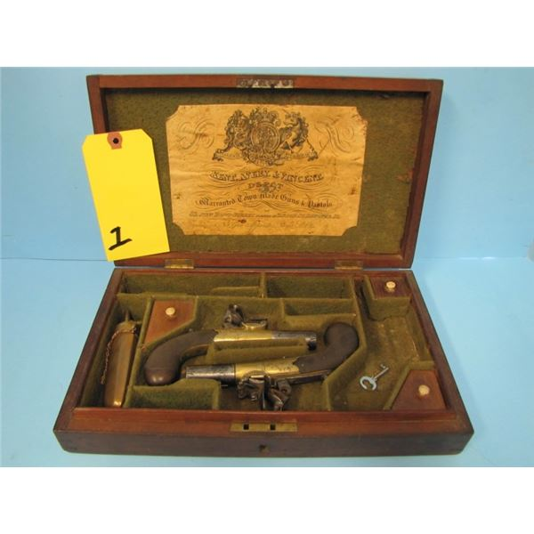 ANTIQUE:  Dueling Pistol Set of 2 Richards single shot boxlock, approx .45 cal  with folding trigger