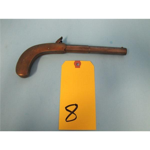 "ANTIQUE:  Fairbanks all metal pistols, 33 caliber, 5"" part round part octagon barrels. The hammer an"