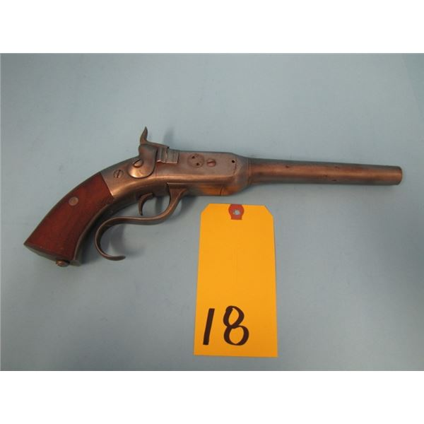 ANTIQUE:  Rare type 2 Perry Patent Arms Co. single shot percussion pistol. .54 caliber, length 14-5/