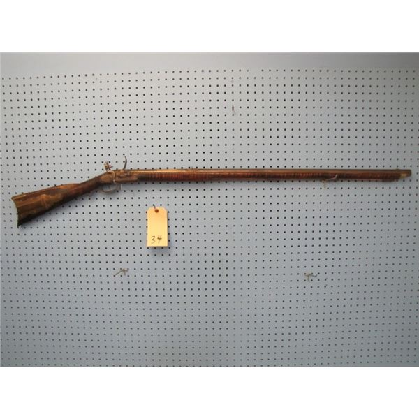 Dickert & Gill 60 caliber Flintlock, Barrel length 39/12 inches made between 1740 & 1822, stock in r