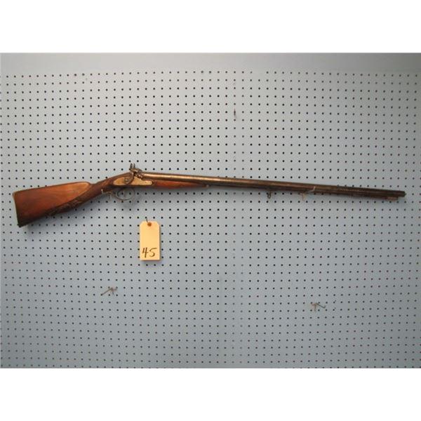 Belgium converted percussion shotgun, Barrel length is 32 ¾ inches, bore 18mm, serial number 38XXX.