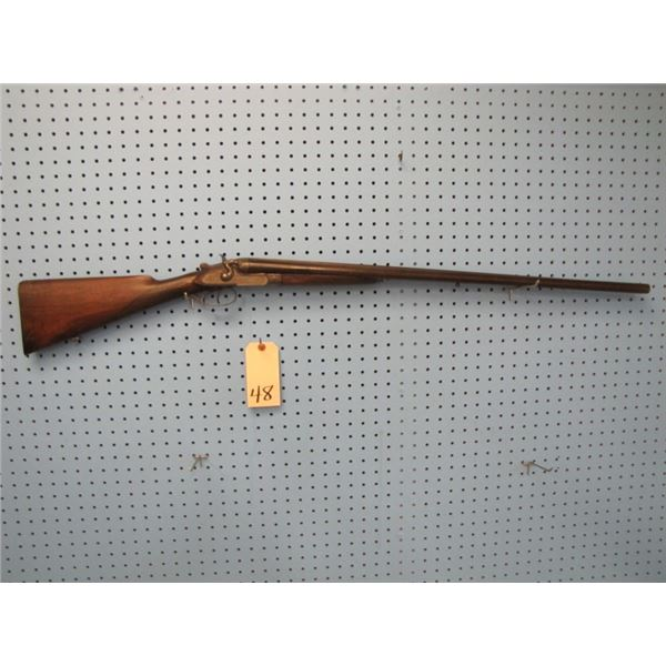 Leige double barrel 12 gauge pinfire shotgun made by Victor Collette. Serial number 49XXX, barrel le