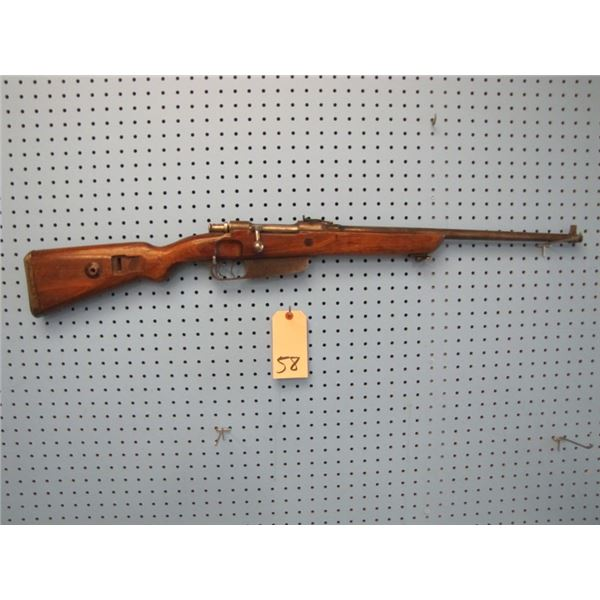 Italian Mauzer Carcano, barrel length 21 inches, Bore 5mm, double set triggers, no marks on gun exce