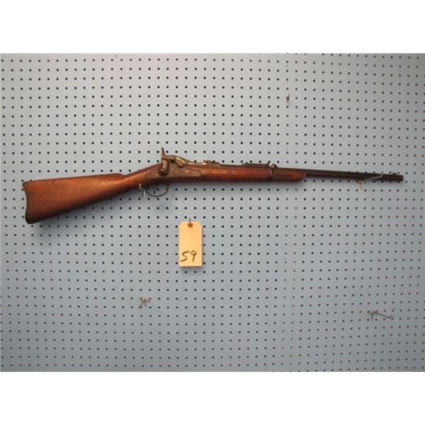 Springfield Model 1873 trap door carbine, serial number 18XXX, barrel length 22 inches, Bore 12 mm,