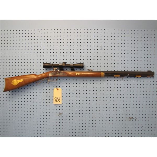 Bell 50 calibre muzzleloader, Tasco Pronghorn scope, see through scope rings, double set triggers,