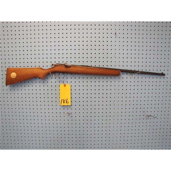 Ranger single shot bolt action, 22 calibre, has someone's SIN engraved on barrel