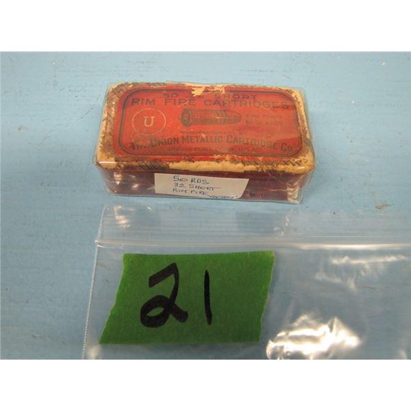 box 32 short Rimfire Union metallic 50 rounds Factory ammo