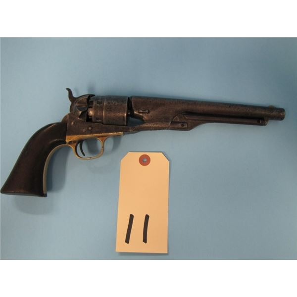 ANTIQUE:  Colt model 1860 Army, 3 screw, 44 calibre cap and ball, 6 shot, 8 inch barrel, made 1862,