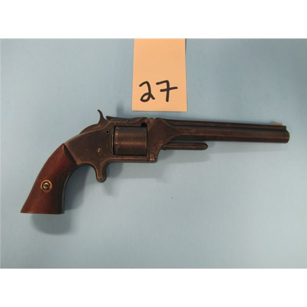 ANTIQUE:  Smith & Wesson model 1860 No. 2, made between 1861 – 1870, 32 LONG RIMFIRE caliber, 6 inch