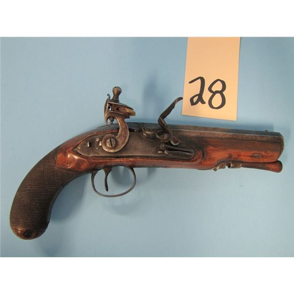 ANTIQUE:  Rogers & Company, London, Flintlock - man-stopper - fullstocked, Overcoat pistol, 68 calib
