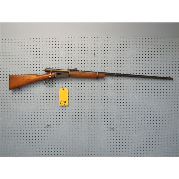 Swiss Vetterli, bolt action, converted to 41 Centerfire, sporterized, consignor says good bore