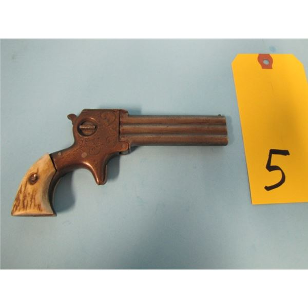 PROHIBITED:  Wm. W. Marston STYLE  Three-Barrel .22 Derringer with Retractable Knife Blade, engraved