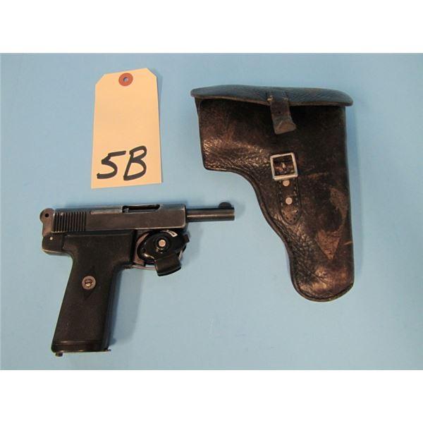 "PROHIBITED:  Webley & Scott model 1906 32 auto, 3 1/2"" barrel, serial # 157XXX. With holster"