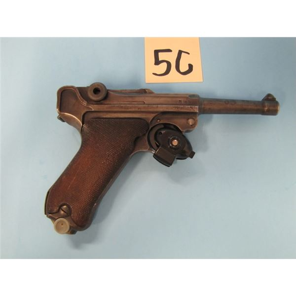 "PROHIBITED:  PO8 Luger, 1940 date, 4"" barrel, army acceptance marks, serial #60XX, numbers match exc"