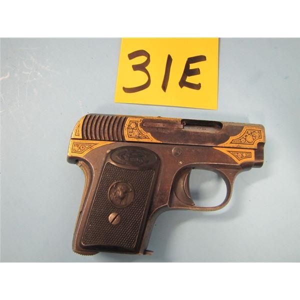 PROHIBITED:  Buffalo, maker: Gabilondo Y Cia,semi-automatic, calibre 6.35 mm, Barrel length 54 mm, c